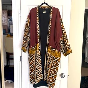 Vintage Mudcloth African Tribal Print Duster Coat